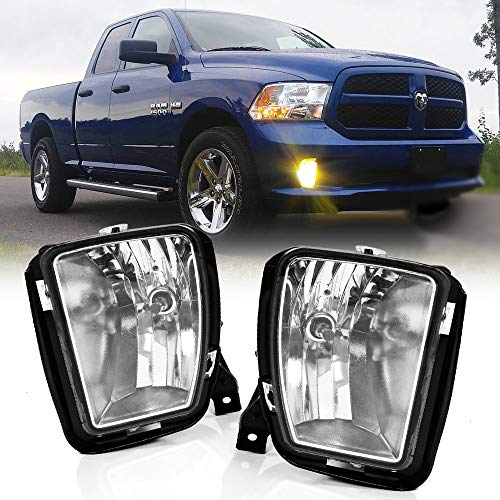 Fog Lights Fits 2013-2018 Dodge Ram 1500 Pickup Truck | Passenger & Driver Side Clear Lens Front Bumper Driving Lamp w/ 9006 12V 35W Bulbs by IKON MOTORSPORTS | 2014 -