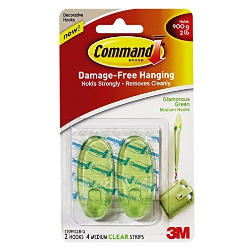 Command 17091CLR-G Glamorous Green, 2 Medium Hooks, 4 Clear Strips/Pack