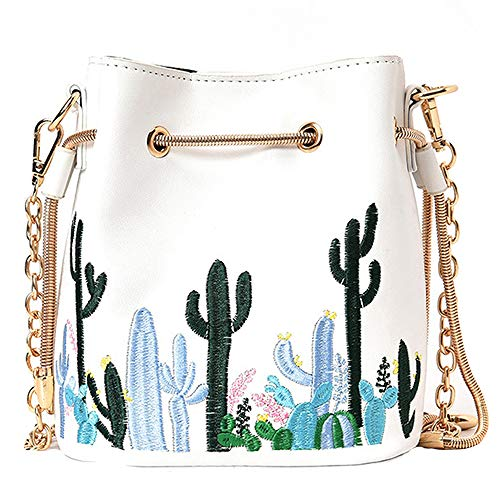 LABANCA Womens Mini Bucket Bag Cactus Printed Shoulder Bag with Drawstring Chain Crossbody Bag White ()