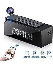 Telecamera Spia 1080P, HY Nascosta WIFI Orologio Sveglia Spy Cam HD Videocamera Mini Microcamere con Visione Notturna e Rilevamento del Movimento per Casa e Ufficio-Monitoraggio Remoto in Tempo Reale