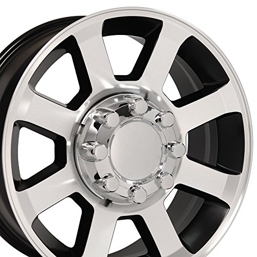 20×8 Wheel Fits Ford Super Duty Trucks – F250-F350 Style 8 Lug Black Rim w/Mach'd Face, Hollander 3693