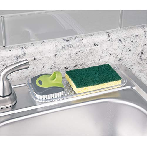 - InterDesign Sinkworks Kitchen Sink Tray for Sponges, Scrubbers, Soap - Clear