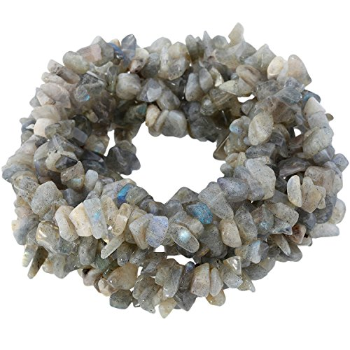 SUNYIK Labradorite Tumbled Chip Stone Irregular Shaped Drilled Loose Beads Strand for Jewelry Making 35