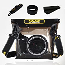 "DiCAPac D-SLR Mirrorless RF Digital Camera Underwater Sport Outdoor Waterproof Case Bag WP-S3 (7.67 x 6.69"") with Strap"