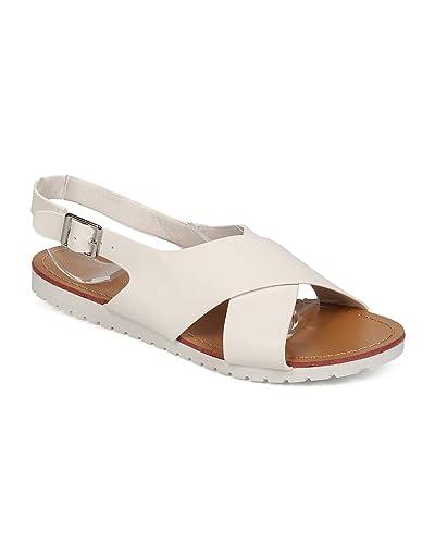 fe13a2799f9e Women Leatherette Open Toe Criss Cross Slingback Sandal EF99 - White (Size   6.0)