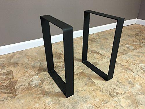 "Set of ( 2) - 2 inch Flat Stock Legs 12""W x 16""H - Raw Metal Legs, Bench Legs, Table Legs, Steel Legs, Pair of Legs, Reclaimed Wood   SHIPS IN 48 HOURS FREE"
