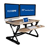 FlexiSpot 35'' Standing Desk Converter unit - Height Adjustable Stand up Desk Computer Riser with Quick Release Removable Keyboard Tray (Cedar)