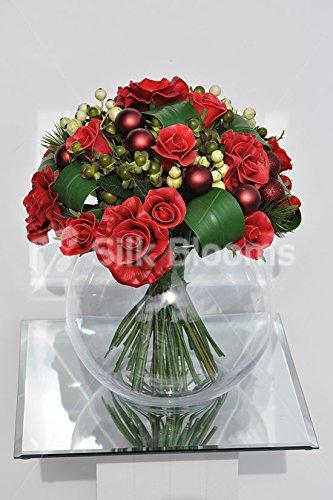 Escogidos de rosas rojas de bolas de Navidad cuenco pantalla Snowberries: Amazon.es: Hogar