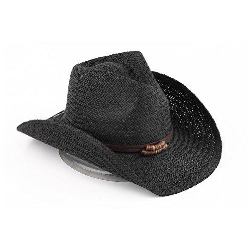 Reese Old Stone 100% Paper Straw Unisex Cowboy Drifter Style Sun hat - AH-041-BK