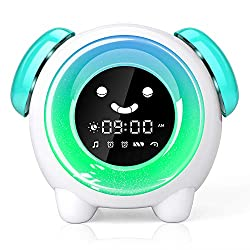 Alarm Clock for Kids, Sleep Training Clock with 7 Colors Night Light, 6 Alarm Rings, NAP Timer, Teach Children Time to Wake up, Rechargeable Battery USB Charging Clock for Boys Girls Bedroom (Green)