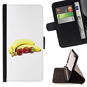 DEVIL CASE - FOR Samsung Galaxy S4 IV I9500 - Bananas and strawberries - Style PU Leather Case Wallet Flip Stand Flap Closure Cover