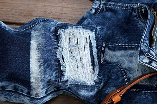 Jeans In Slim Da Strappati Blau Moto Fit Bleach Uomo Lunghi Denim Pantaloni Clubwear UXUqxdrv