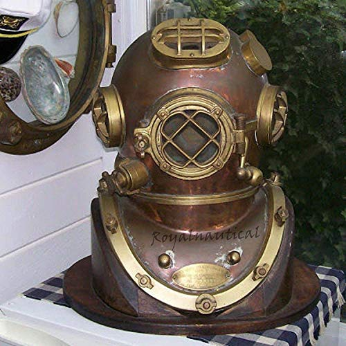 "Max Engineering Enterprises Scuba Diving Divers Helmet U.S Navy Mark V Original Antique 18"" Deep Sea Diver's Helmet"