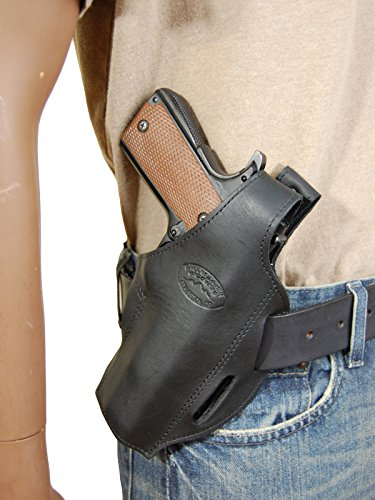 Barsony New Black Leather Concealment Pancake Gun Holster for S&W SD9 SD40 - Concealment Pistol Pancake Holster