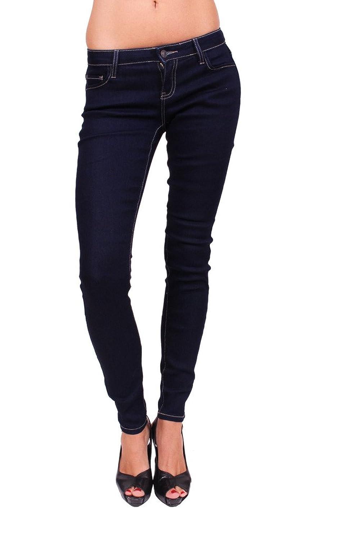 Cello Jeans Women Indigo Low Rise Basic Skinny Jeans With Khaki Stitch