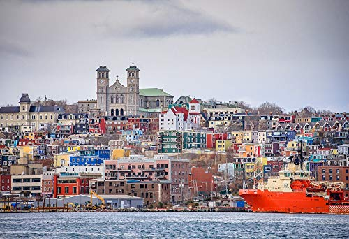 Home Comforts Peel-n-Stick Poster of Harbour Newfoundland Downtown St John's Vivid Imagery Poster 24 x 16 Adhesive Sticker Poster Print