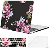 MOSISO MacBook Pro 13 Case 2018 2017 2016 Release A1989/A1706/A1708 w/ & w/o Touch Bar,Plastic Pattern Hard Case & Keyboard Cover & Screen Protector Compatible Newest Mac Pro 13 in,Peony