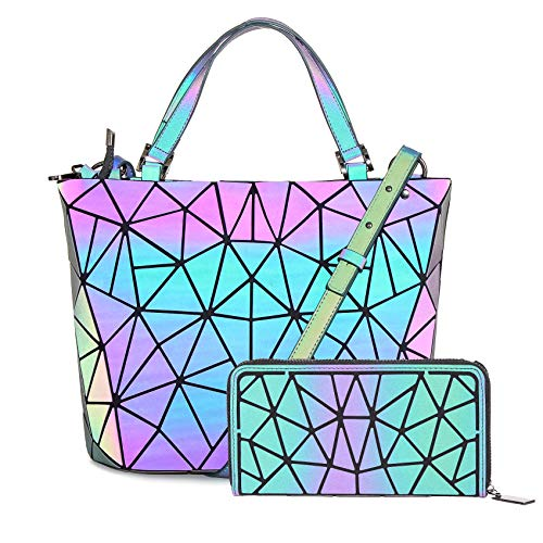 (HotOne Geometric Purse Holographic Purse and Handbag Color Changes Luminous Purse and Wallet Set for Women(Luminous Medium +Wallet B))