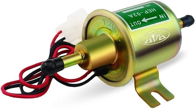 Electric Fuel Pump 12v Universal Fuel Transfer Pump 2.5-4 PSI 5//16 inch Inlet and Outlet Fuel Pump for Carburetor Engine HEP-02A