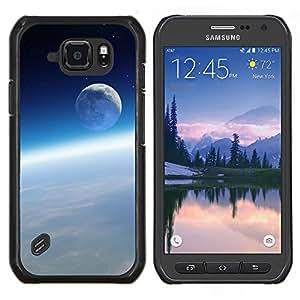 Caucho caso de Shell duro de la cubierta de accesorios de protección BY RAYDREAMMM - Samsung Galaxy S6Active Active G890A - Ambiente Espacial Tierra Luna Blue Sky