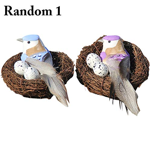 1 Set Fake Birds Nest FunPa Artificial Bird Nests Easter Ornament Miniature Ornament Contains Birds and Eggs for Home Decorations