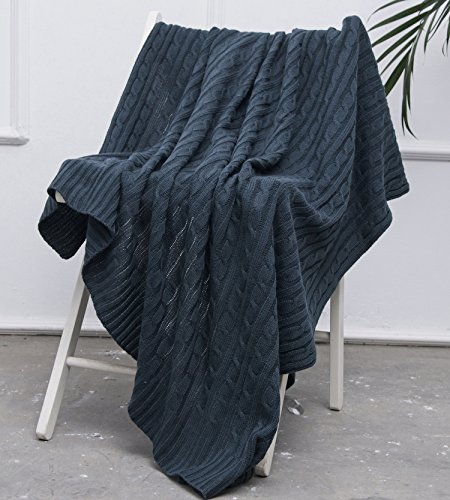 Ataya Cable Knit Throw Blanket, Acrylic Soft Cozy Snuggle TV Blanket,All Seasons Suitable for Adults and Kids,120cm×150cm - Knit Blanket Acrylic