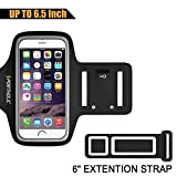 PORTHOLIC Sports Armband for iPhone 7 Plus 6s Plus 6 Plus, Galaxy S8 Plus, LG G5 Note 3/4/5 with case (fits with large Otterbox Defender&Lifeproof case) with Key&Cards Holder, Cable Locker (6.5 Inch)
