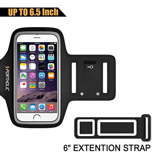 Large Running Armband for iPhone 8 Plus 7 Plus 6s/6 Plus, Samsung Galaxy S9 + S8 Plus, Note 8/3/4/5, LG G6, Fits Otterbox Defender case, Portholic Exercise Pouch Phone Holder–Fingerprint Access