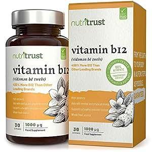 Comprimidos Vitamina B12 1000 μg Nutritrust® - 400% Más Vitamina B12 que Otras Marcas – Fórmula Alta Potencia de Fuentes Alimenticias para Mayor Comodidad y Biodisponibilidad – Certificación GMP