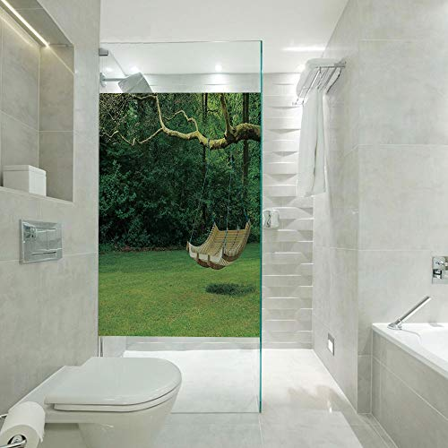 RWNFA Bathroom Privacy Window Film Glass Sticker,Curved Swing Bench Hanging from The Bough of Tree in Lush Garden Woodland Backdrop,Customizable Size,Suitable for Bathroom,Door,Glass etc,