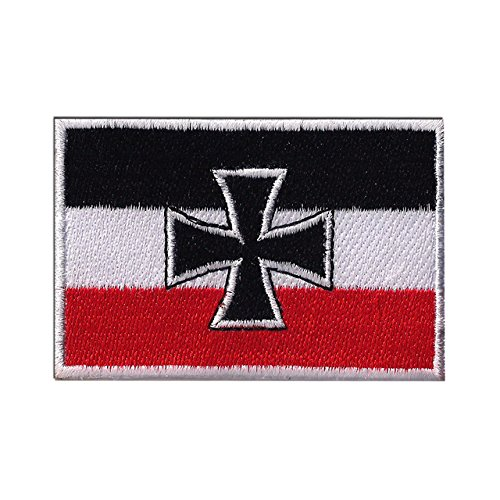 GERMAN NAVY WWI JACK FLAG CROSS GERMANY CROSS EMBROIDERED PATCH Badge Iron-on, Sew On 3.5