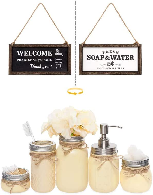 Mkono Farmhouse Bathroom Signs Decor Wall Hanging Wooden Sign with Sayings & Bathroom Accessories Yellow Mason Jar Home Decor Set of 5
