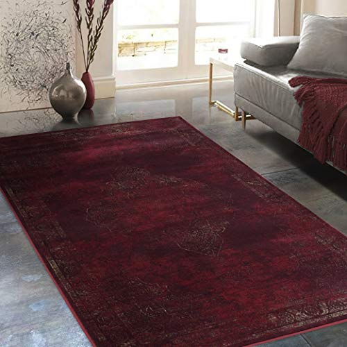 (Allstar 8x10 Burgundy Classic Rectangular Accent Rug with Ivory Distressed Persian Bordered Medallion Design (7' 6
