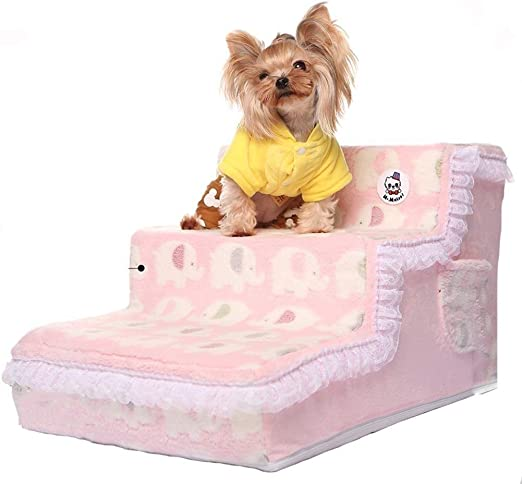Yuandudu Louti Pet Pedal 3 Paso Perro/Gato de Escalera Sofá Lavables 65 x 40 x 35 escaleras Cm Mascotas (Color : Pink): Amazon.es: Productos para mascotas