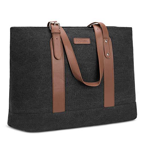 Utotebag Women Laptop Tote Bag, 15.6 Inch Notebook Ultrabook Shoulder Bag Lightweight Canvas Briefcase Classic Handbag Handle Adjustable Work Travel Business Bag (Canvas Black) (Canvas Womens Briefcase)
