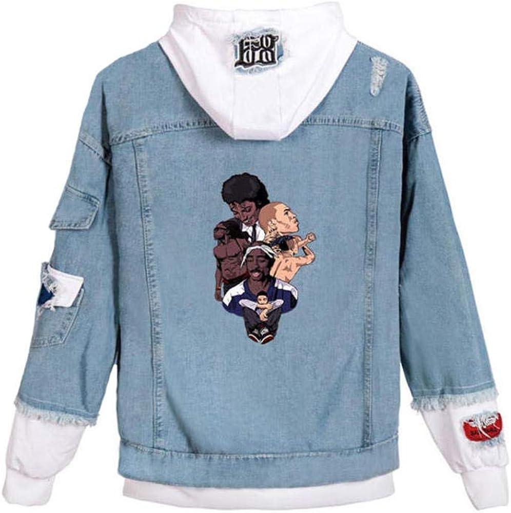 Uomo Donna Rapper 2Pac Stampa Moda Coreana Comodo Casual Giacca di Jeans Giacca con Cappuccio Classica Hoodie