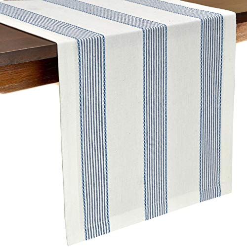 Glamburg Cotton Table Runner 90 Inch, 100% Ring Spun Cotton, 2 Pack 14x90 - Inch with Mitered Corners and a Generous Hem - Navy -