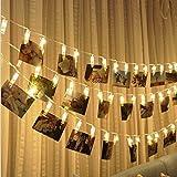 Led String Lights, Bangcool 10ft 20 LEDs Photo Clip String Lights Battery Operated Fairy String Lights for Bedroom Christmas Warm White