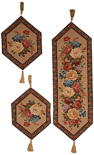 DaDa Bedding Tapestry Table Runner - Decorative Woven Breath of Spring - Light Beige Floral Print Motif - 3-Pieces