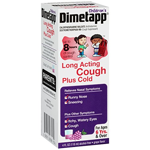 Dimetapp Children's Long Acting Cold & Cough Antihistamine & Cough Suppressant (Grape Flavor, 4 fl. oz. Bottle)