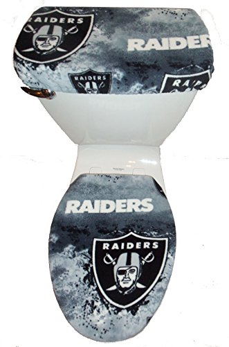 OAKLAND RAIDERS Marbled Fleece Toilet Seat Cover Set by Rock'N Deals Seller