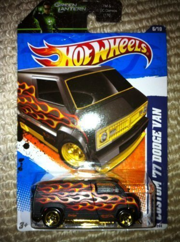 Hot Wheels Decals - 2011 Hot Wheels Custom '77 Dodge Van with Red/Gold Flames & Hot Wheels Decal 96/244 Green Lantern Promo Variant 6/10