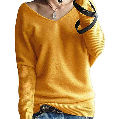 Clearance Sale ! Kshion Women's Sweater Blouse Autumn Winter Fashion V-neck Batwing Sleeve Solid Knitted Pullover Shirt Tops (Yellow, S) from Kshion_Women blouse