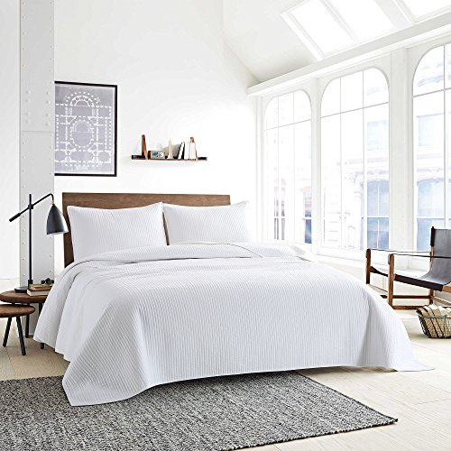 Style Homes 3-Piece Luxury Quilt Set With Sham(s), Ultra Soft Microfiber Bedspread and Coverlet with Half Inch Channel Stitch Design, Oversized, Full/Queen, Bright White - Stitch Coverlet Set