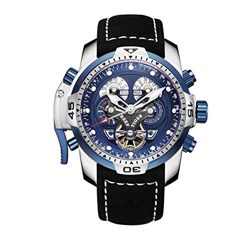Reef Tiger Military Watches for Men Stainless Steel Blue Dial Watch Sport Automatic Watches RGA3503