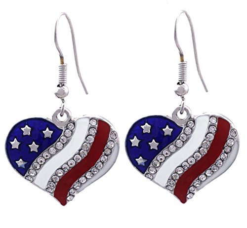 4th of July USA American Flag Patriotic Red Blue Heart Earrings Jewelry (Heart Hook Silver-tone 3/4