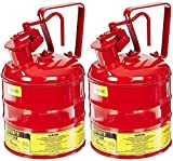 Justrite 10301 Type I Steel Flammables Safety Can, 4L Capacity, Red (Pack of 2)