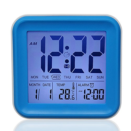 Large Display Digital Kids Alarm Clock 2like With 3 Sets Alarm And Night light Day Date Indoor Temperature Active Backlight Snooze Good Sleep Alarm Clock for Kids Child Teenager Room(Blue)