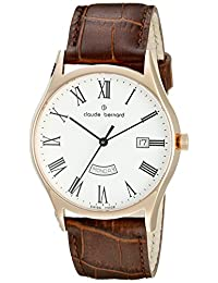 Claude Bernard Men's 84200 37R BR Classic Analog Display Swiss Quartz Brown Watch