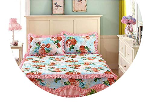Bed Sheet Set with Two Pillowcase,Bedding Set Super King,Cotton Padded Lace Bed Skirt,Mattress Cover,Quilted Bedspread, 45,9,200cm200cm